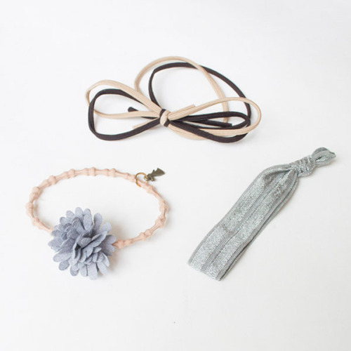 Exquisite Flower Bowknot Three-Piece Knot Elastic Wide Hair Rope