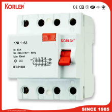 KNL1-63 Electronic Residual Current Circuit Breaker withgood price 1P+N/3P+N