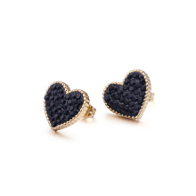 Stainless steel crystal heart stud earrings
