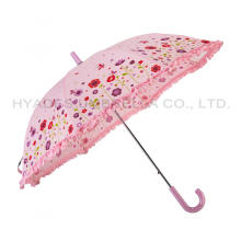 Girl's Pink Flower Kids Safety Open Umbrella