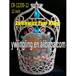 Customized for Gold Pageant Crowns 12 Inch Pageant Crown Sun Flowers Crown export to Montserrat Factory