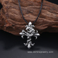 Retro Metal Cross Mens Leather Necklace With Pendant