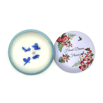 Paraffin wax tin candle with color printing