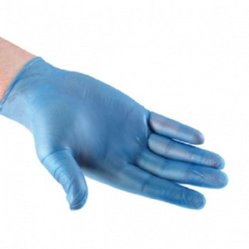 Yellow and blue  medical vinyl glove