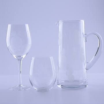 Handmade Glass Drinking Set With Pineapple Pattern