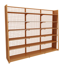 Supermarket Single-Sided Steel Wooden Display Shelves