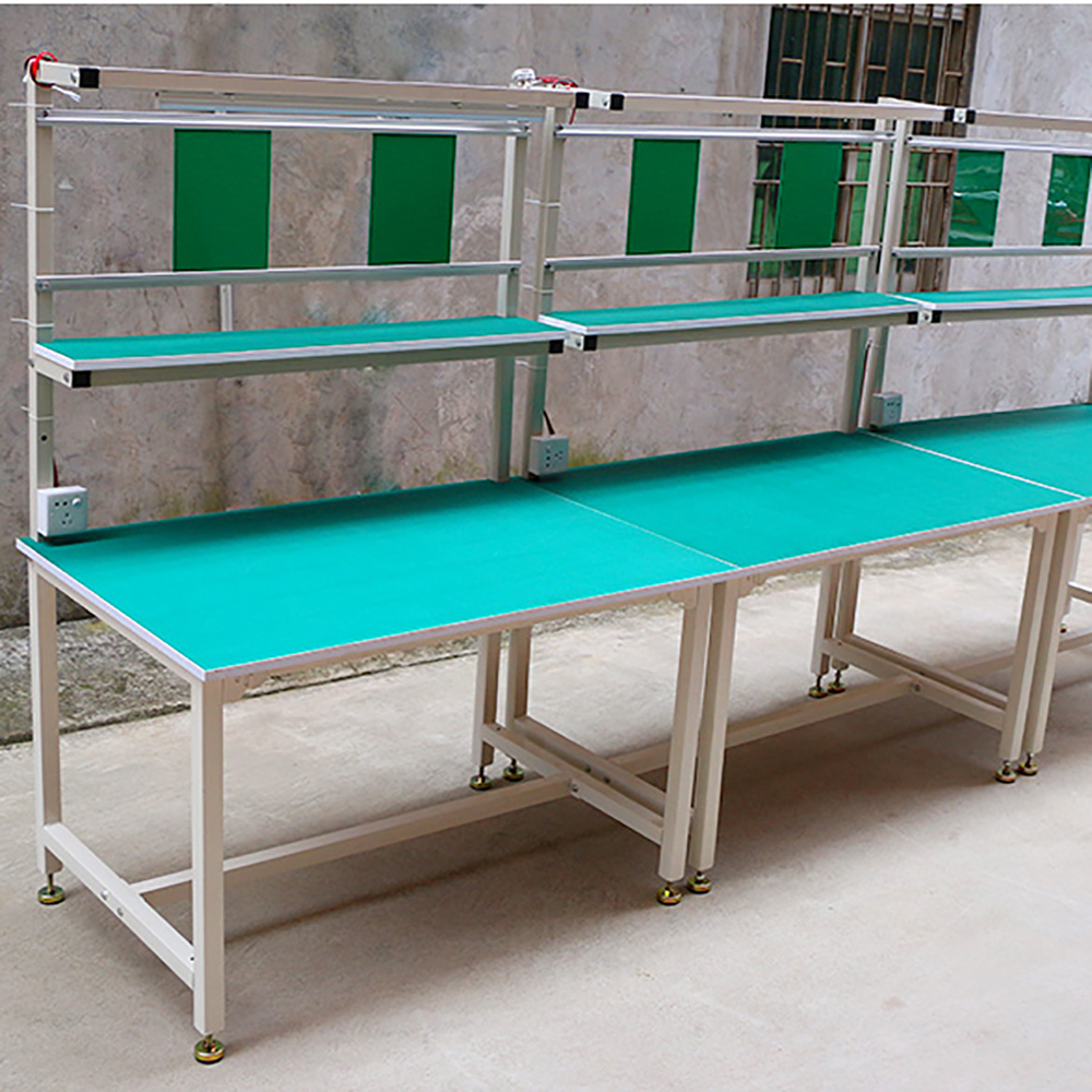 assembly table with painted steel