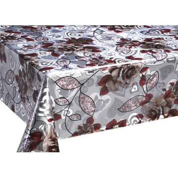 E-tex Double Face Emboss printed Gold Silver Tablecloth