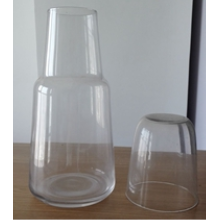 Mouth Blown Clear Bedside Carafe Drinking Glass Cup