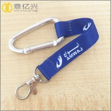D shaped aluminium carabiner keychain with strap