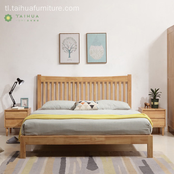 Solid Rubber Wood na may Vertical Wood Sticks Headboard