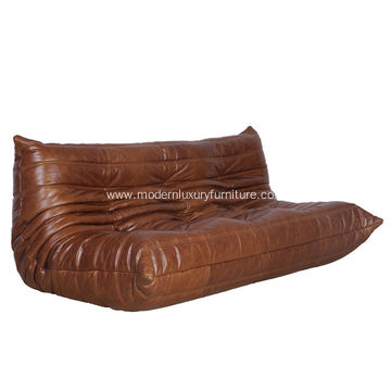 Modern Vintage Leather Togo Sofa Design
