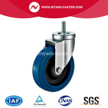 4'' Threaded Stem Swivel Blue Elastic Rubber Caster