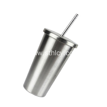 Insulated Double Wall Stainless Steel Cup With Straw