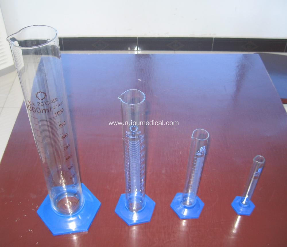 Measuring Cylinder with Plastic Hexagonal Base with Spout Graduated
