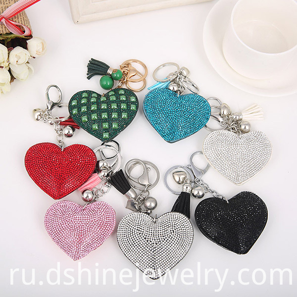 Full Rhinestone Leather Keychain