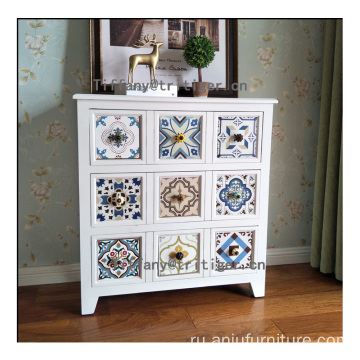 antique white wooden cabinet home furniture 3 layers