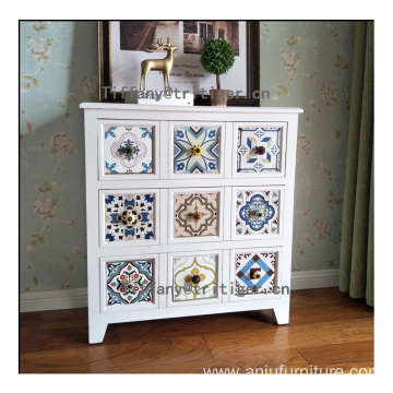 Wholesale Vintage Shabby Reclaimed Home Furniture white Wooden Storage Cabinet