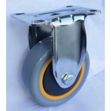 Medium duty 4'' fixed Grey PVC caster wheels