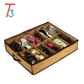 non woven foldable storage shoe organizer 12 Cells Under Bed Fabric Shoe Storage Organizer