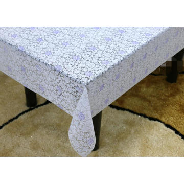 Printed pvc lace cream tablecloth by roll
