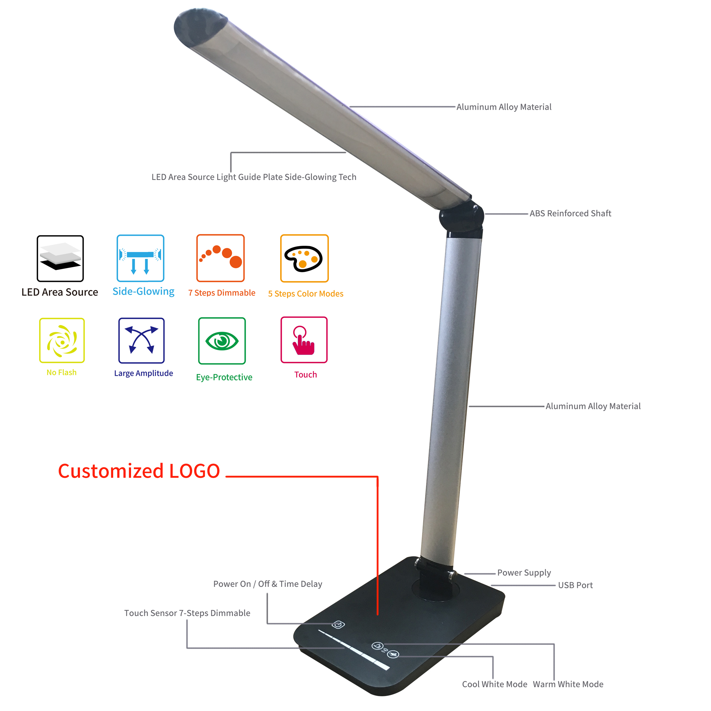 aluminum alloy led desk lamp