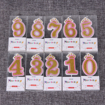 High quality crown shape number birthday candle