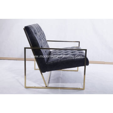 Golden color finished thin frame lounge chair