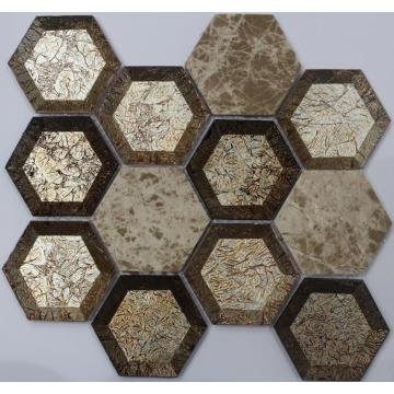 Golden Look Hexagon Decoration Mosaic