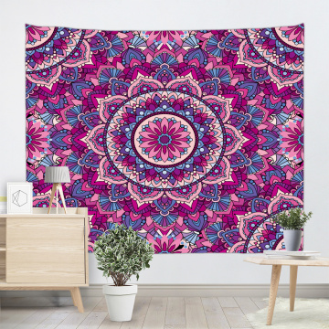 Bohemian Tapestry Mandala Wall Hanging Indian Hippie Boho Psychedelic Tapestry for Livingroom Bedroom Home Dorm Decor Rose Red