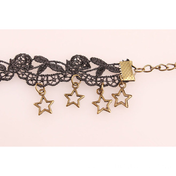 Black Flower Lace Anklet Star Charm Lace Anklet For Women