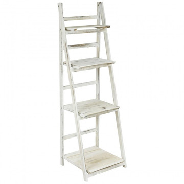 cheap 4 tier whitewash ladder rack display folding stand shelf for home storage