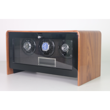 Triple rotors wooden watch winder case