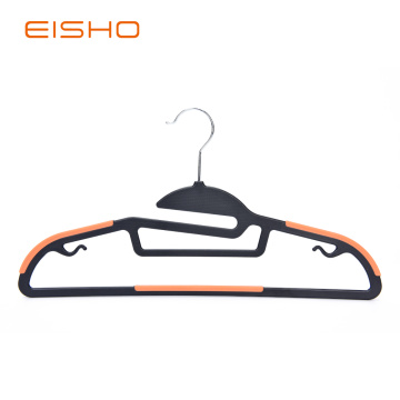 Non-Slip Plastic Hangers With Orange Rubber Pieces