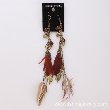 Long Feather Earrings With Peace Charms Pendant Earrings