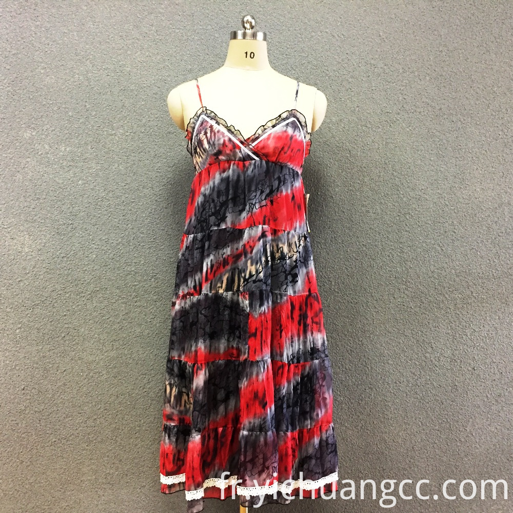 Women's polyester printed striped long dress