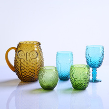 Colored Owl Blown Glassware Set