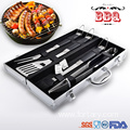 Soft handle barbecue bbq grilling tool set
