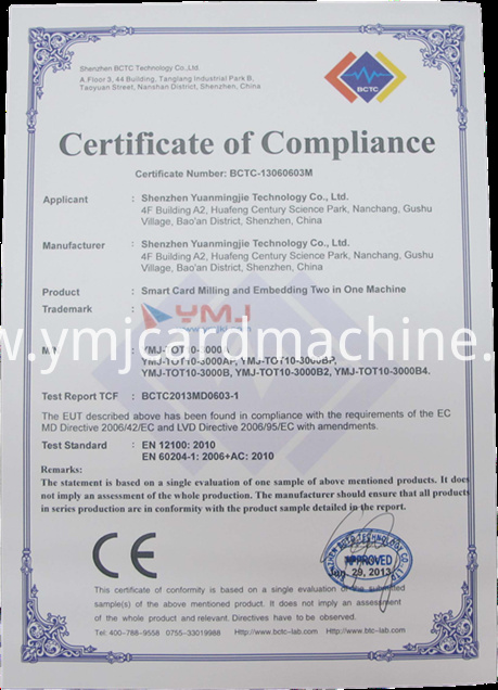 CE of Smart Card Milling and Embedding Machine