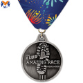 Custom silver metal race medals and ribbons