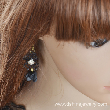 Black Lace Earrings For Womens With Flower Pendant Earrings