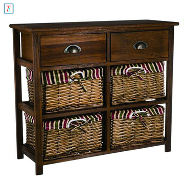 Bedroom Hallway Brown Wooden Storage Cabinet Unit with 2 Drawers 4 Wicker Baskets