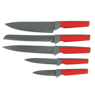 New 5 piece Weave Handle Non-stick Knife Set
