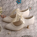 Low Heel Mary Jane Wedding Shoes Ivory