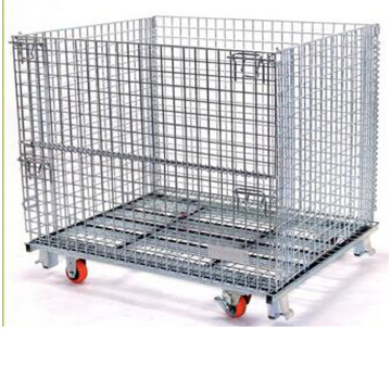 Stacking Collapsible Straight Steel Wire Storage Cage
