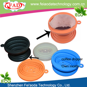 Favored Hanging Ear Collapsible Silicone Coffe Filter Cone