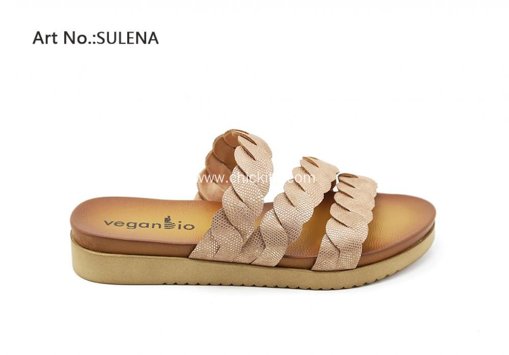 Women Rose Gold/ Yellow Cross Slip-on Sandals