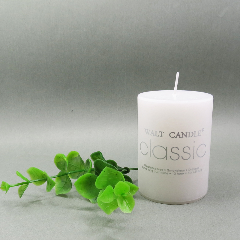 White unscented set pillar candle