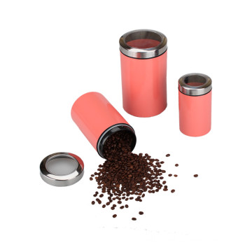 Set of 3 Stainless Steel Tea Coffee Canistars