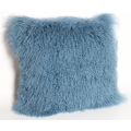 Mongolian Lamb Skin Cushion Cover in Blue